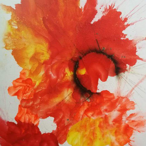 Feuerspuren und Farbenspiele 3, 60x80 cm, Malkarton