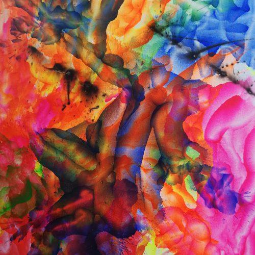 Feuerspuren und Farbenspiele 2, Acrylfarben, Geschweißte Spuren, 60x80 cm, Malkarton